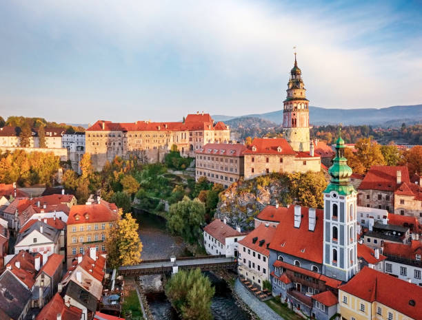 view of old town cesky krumlov - czech republic stock pictures, royalty-free photos & images