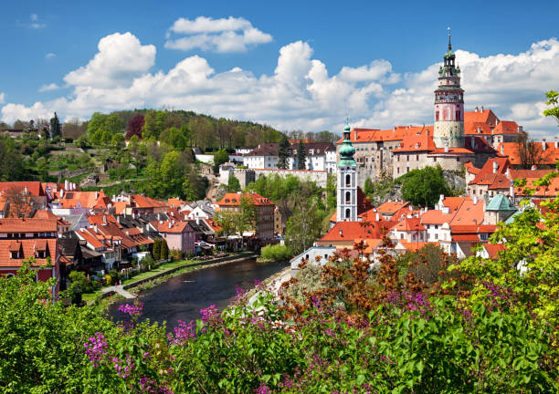 View of old town Cesky Krumlov, South Bohemia, Czech Republic stock photo