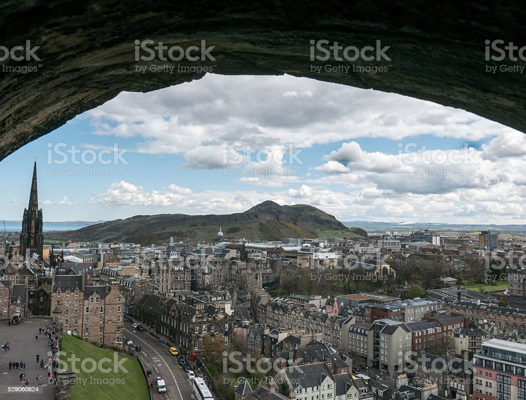 View of Old Town Edinburgh and Arthur's Seat stock photo