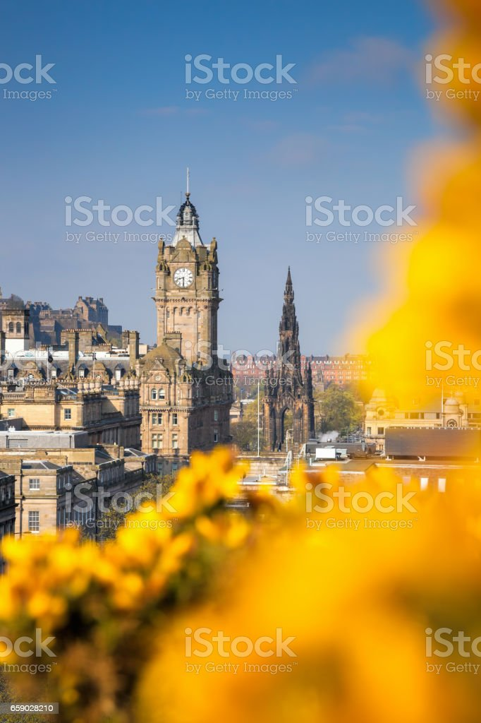 View of old town Edinburgh with flowers during spring in Scotland royalty-free stock photo