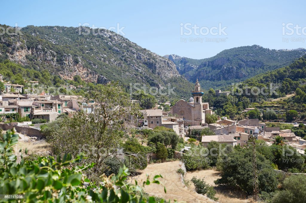 View of old town in Valldemossa on Majorca. stock photo