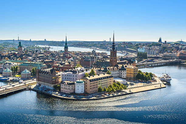 view of Old Town or Gamla Stan in Stockholm, Sweden Scenic view of the Old Town or Gamla Stan in Stockholm, Sweden stockholm stock pictures, royalty-free photos & images