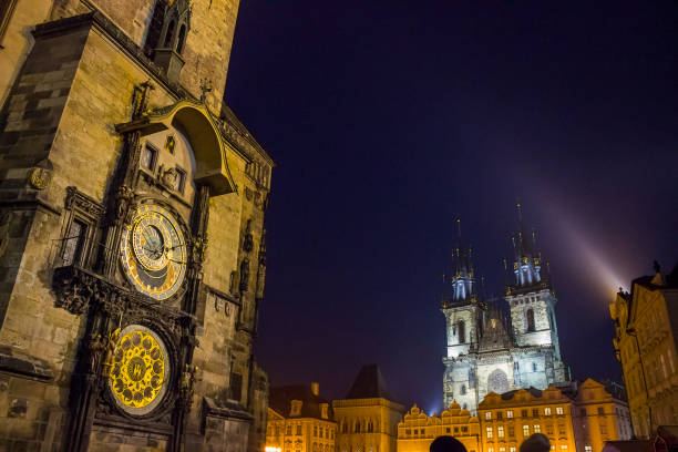 View of Old Town Square in Prague View of Old Town Square at night in Prague astronomical clock prague stock pictures, royalty-free photos & images