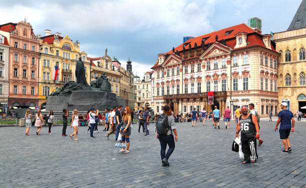 View of old town square with tourists in Prague, Czech Republic stock photo