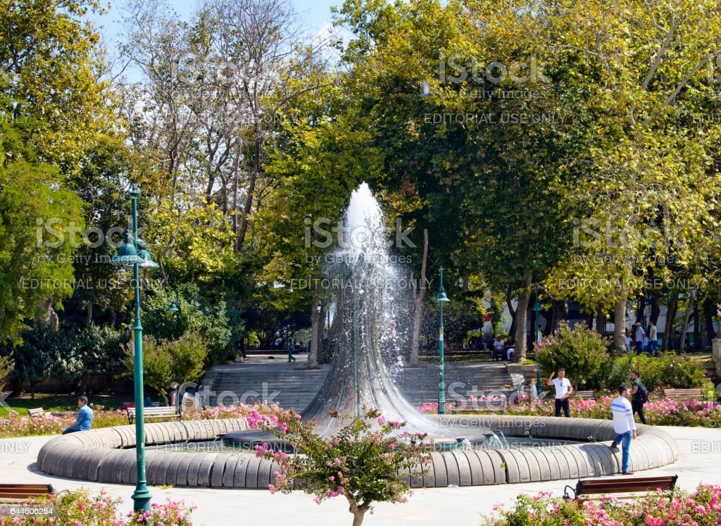 View of old water fountain at Taksim Gezi Park stock photo