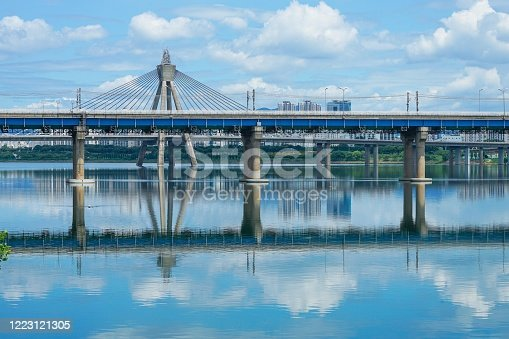 View of Olympic bridge and Jamsil railway bridge over the hanriver at downtown of Seoul in South Korea