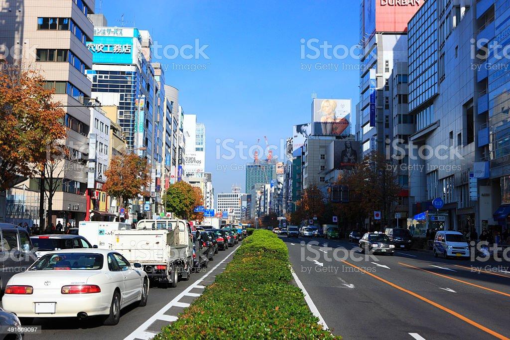 の表参道、青山通りの交差点 ストックフォト
