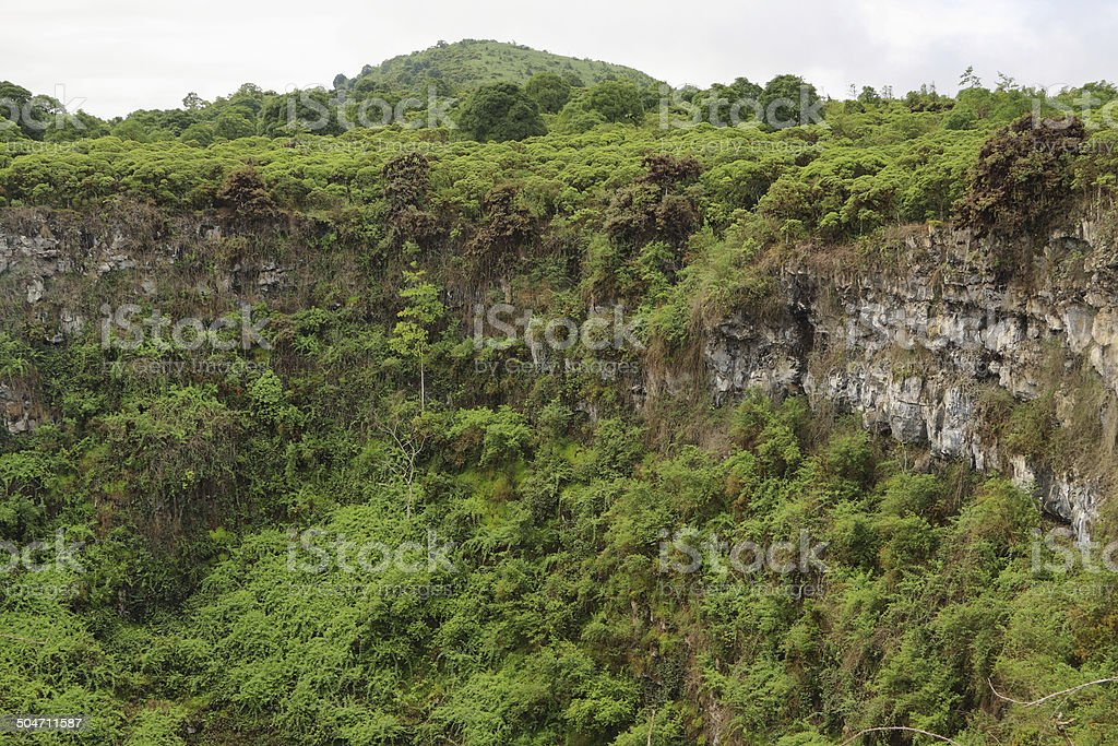 View of one of the twin volcanic craters stock photo