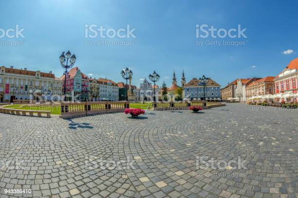 View of one part at Union Square in Timisoara, Romania