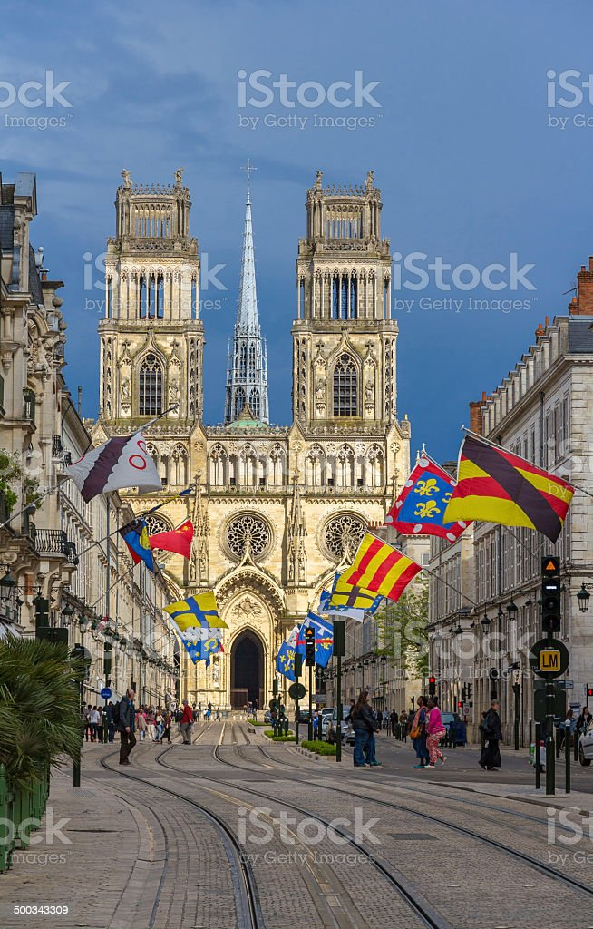 View of Orleans Cathedral from Jeanne d'Arc's street - France stock photo