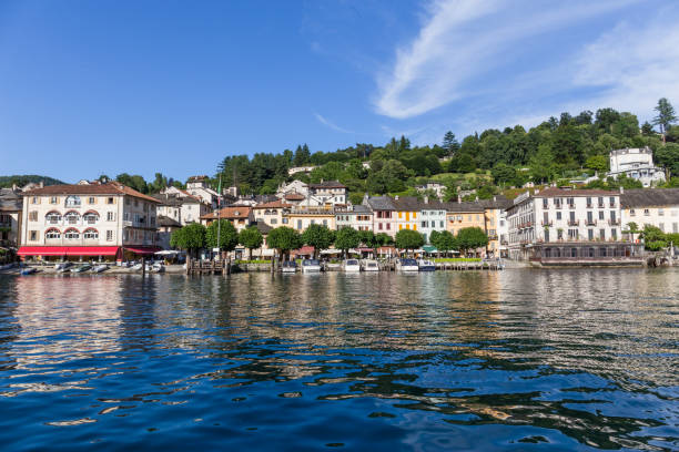 View of Orta San Giulio village, on Lake Orta, Piedmont,Italy stock photo