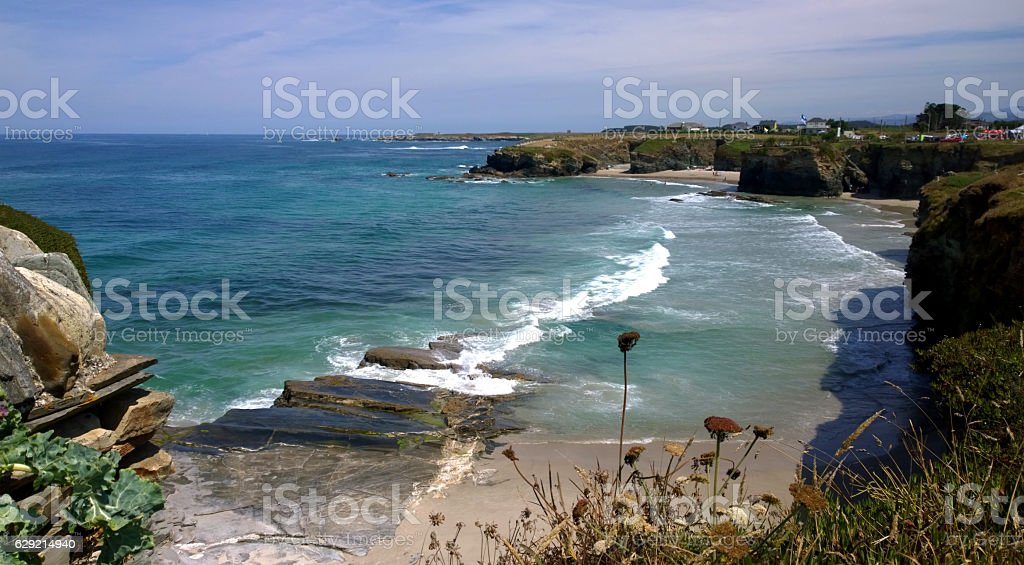 View of Os Castros Beach in Ribadeo, Galicia - Spain stock photo