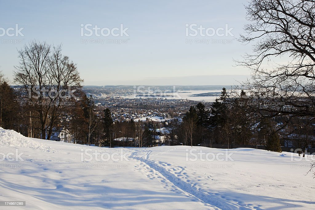 View of Oslo from Holmenkollen stock photo