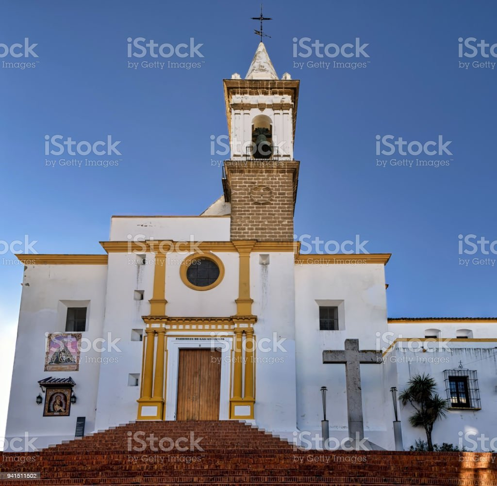 View of Our Lady of Angustias church in Ayamonte, Huelva, Spain. stock photo