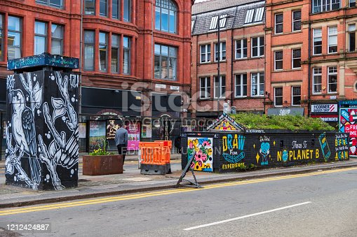 Manchester, United Kingdom - March 1, 2020: View of OUT HOUSE, a new outdoor space for public street art in Stevenson Square in the Northern Quarter of Manchester, UK
