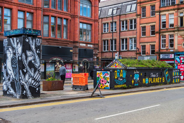 View of OUT HOUSE, a new outdoor space for public street art in Stevenson Square in the Northern Quarter of Manchester, UK stock photo