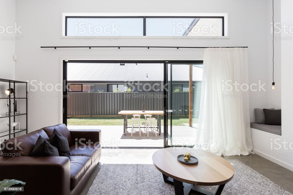 View of outdoor deck from a luxury living room stock photo