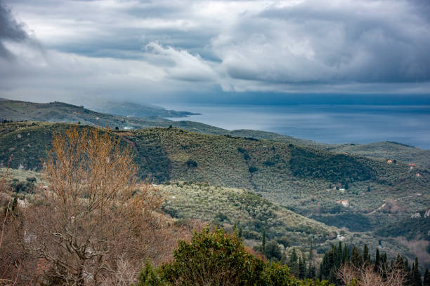 View of Pagasitikos gulf.The photo taken from Milies village stock photo