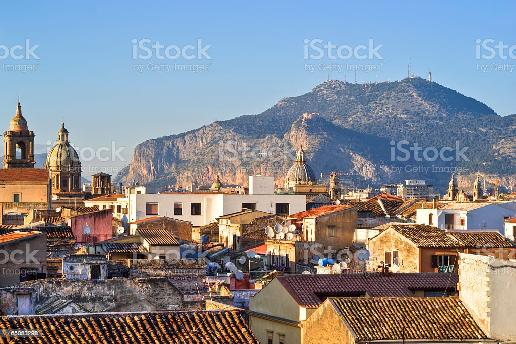 View of Palermo with roofs stock photo