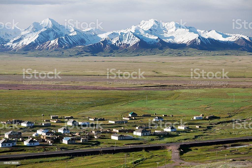 view of Pamir range, alay valley and Sary Tash stock photo