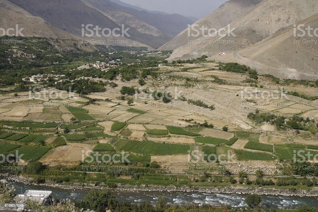 View of Panjshir valley, Afghanistan stock photo