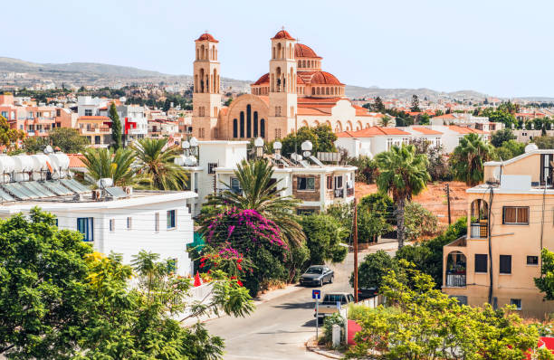 view of paphos with the orthodox cathedral of agio anargyroi, cyprus. - cyprus стоковые фото и изображения