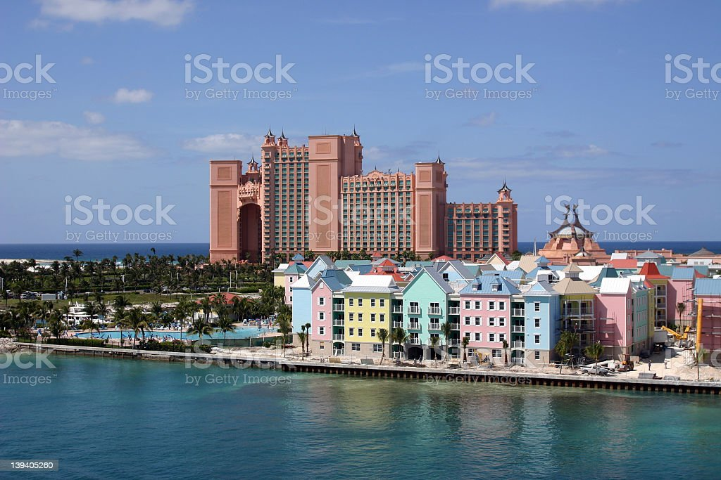 View of Paradise Island from the water in the Bahamas stock photo