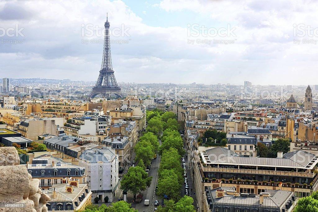 View of Paris from the Arc de Triomphe.  .Paris. France. stock photo
