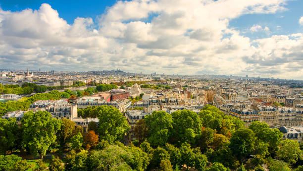 view of Paris Sunny spring day and a view of Paris. ile de france stock pictures, royalty-free photos & images