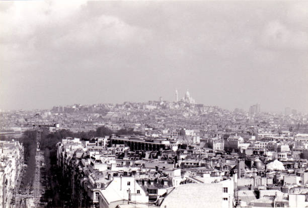 A view of Paris, Sacré-Cœur in the distance: Paris, France stock photo