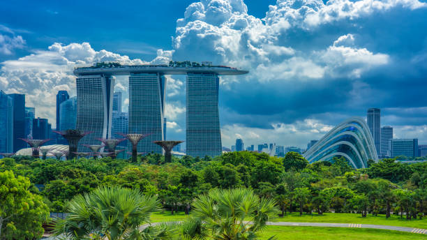 view of park towards iconic hotel and tropical gardens - marina bay sands stock photos and pictures