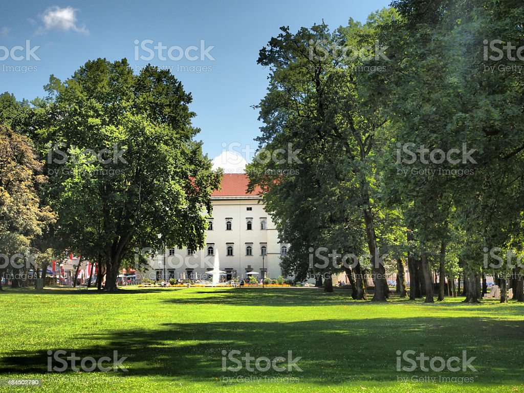 HDR View of Park with fountain in Spittal, Austria stock photo