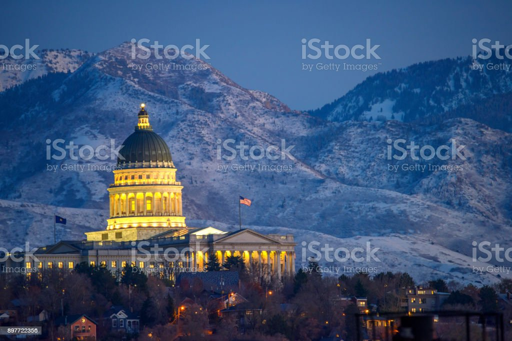 View of Parliament Building in Salt lake City at dawn stock photo