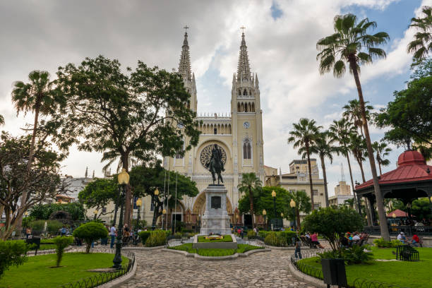 View of Parque Bolivar (Bolivar Square) in the city of Guayaquil in Ecuador stock photo