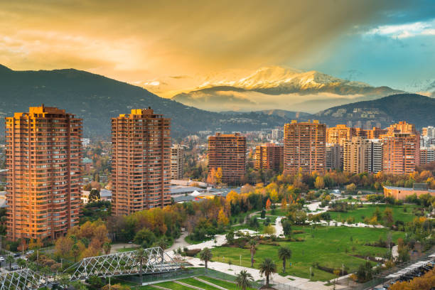 View of Parque Juan Pablo II (Park John Paul II) at Las Condes district in Santiago View of Parque Juan Pablo II (Park John Paul II) at Las Condes district, and the footbridge connecting to Parque Araucano (Araucano park). chile stock pictures, royalty-free photos & images