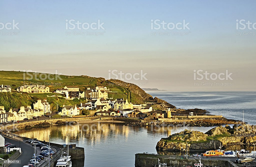 View of Partpatrick harbour at dusk stock photo