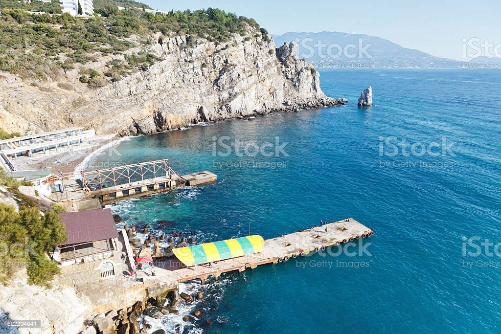 view of Parus (Sail) Rock and beach, Crimea stock photo