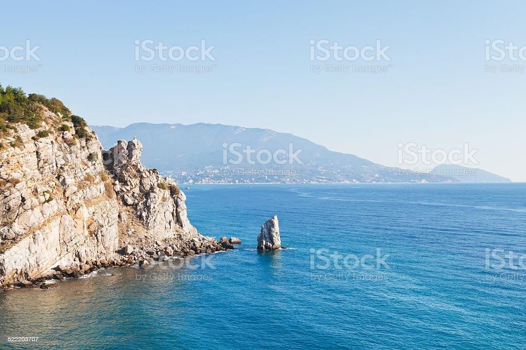 view of Parus (Sail) rock, Ayu-dag coast, Crimea stock photo