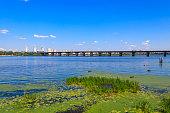 View of Paton bridge and the Dnieper river in Kiev, Ukraine