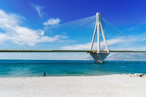 View of Rio Antirrio bridge and Mediterranean sea in Patras, Greece
