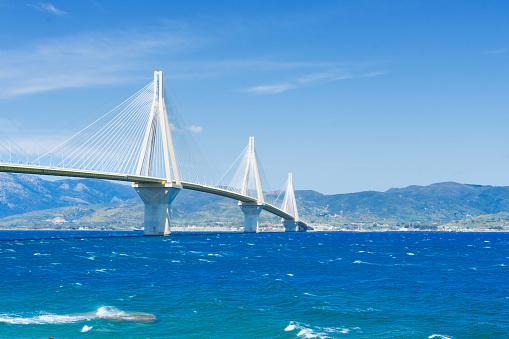 Rio Antirrio bridge and Mediterranean sea in Patras, Greece
