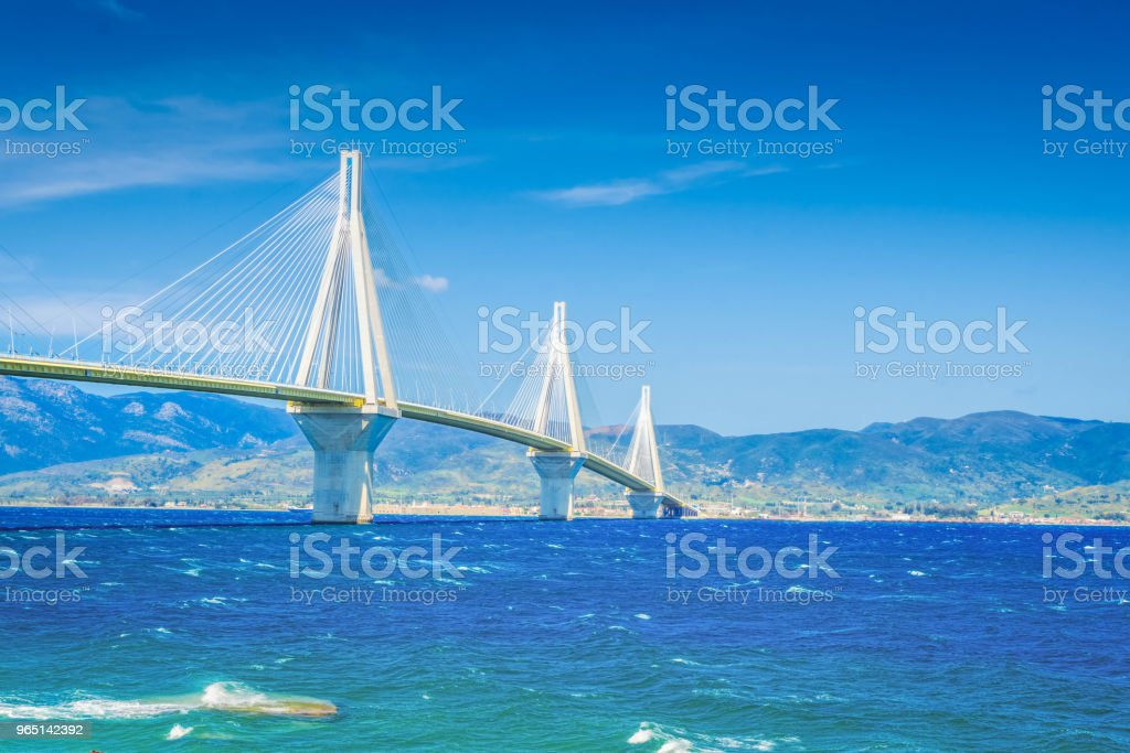 View of Patras and Rio Antirrio bridge zbiór zdjęć royalty-free