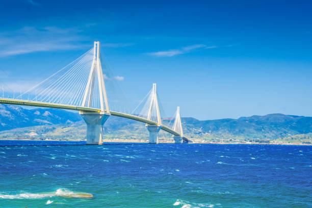 View of Patras and Rio Antirrio bridge stock photo