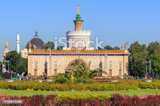 Moscow, Russia - August 01, 2018: View of pavilion Ukrainian SSR from Central alley on Exhibition of Achievements of National Economy (VDNH) in Moscow