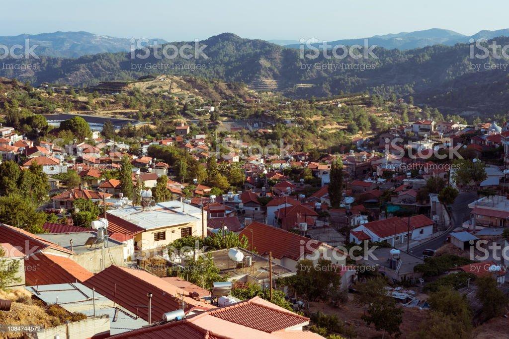 View of Pelendri village. Cyprus, Limassol District stock photo