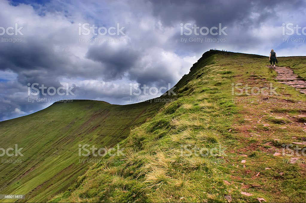 View of Pen Y Fan in the Brecon Beacons stock photo