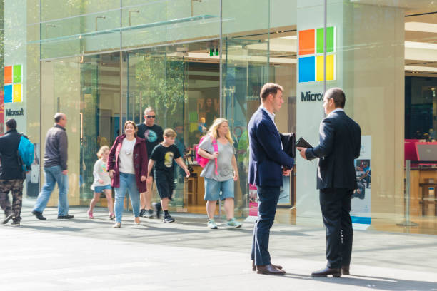 View of people visiting the Microsoft flagship store in Sydney stock photo