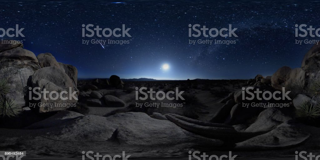 360° View of Perseid Meteor Shower stock photo