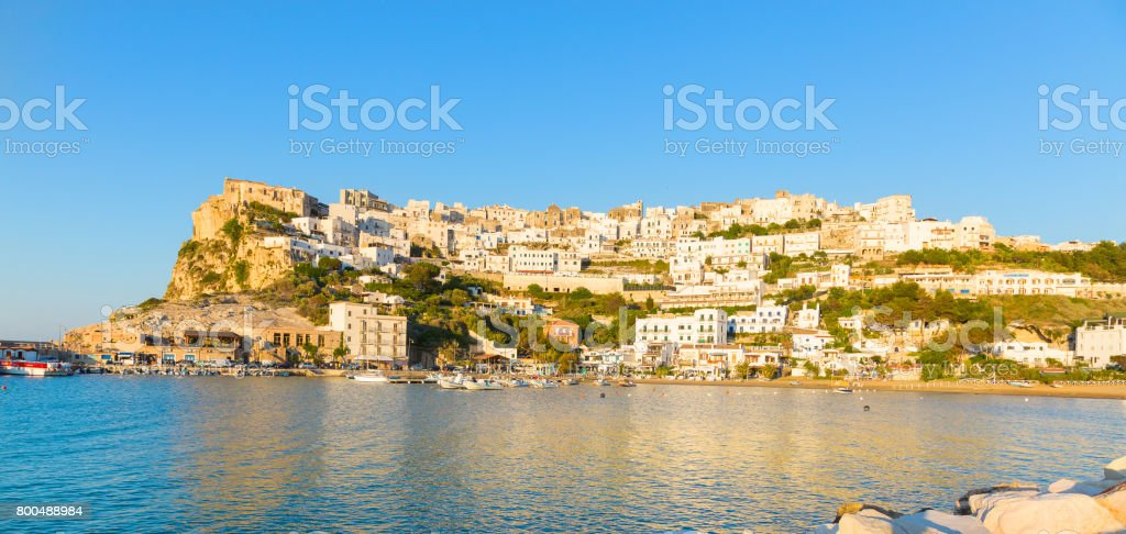 View of Peschici, old town in the Apulia south of Italy stock photo