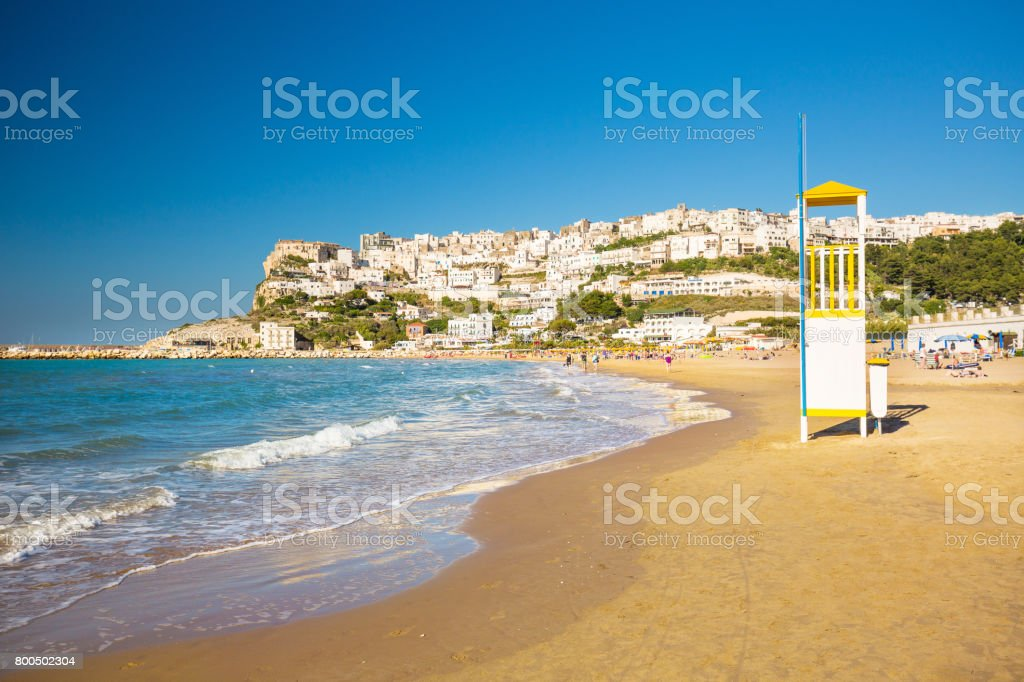 Apulia, Italy -  May 28 - 2017. View of Peschici the small fishing town on south Italy stock photo